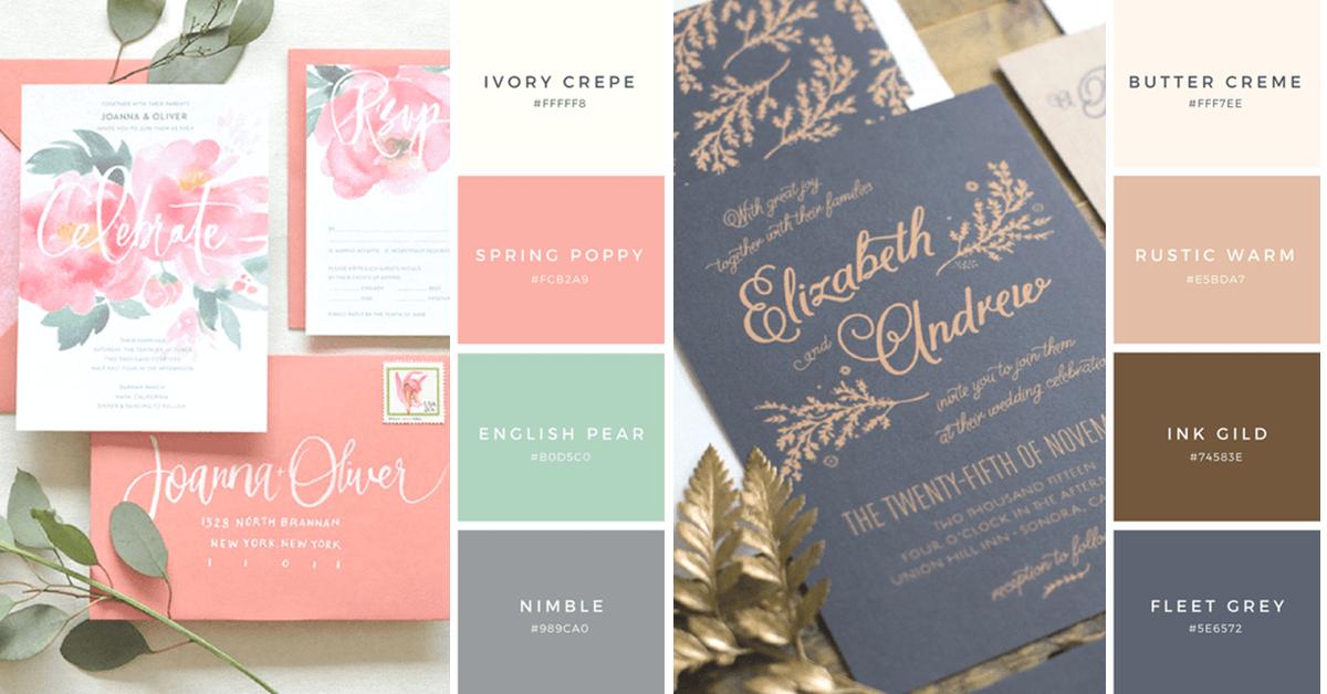 25 kombinasi warna undangan pernikahan yang sempurna